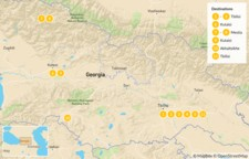 Map thumbnail of Highlights of Georgia: Tbilisi, Caucasus Mountains, & More - 12 Days