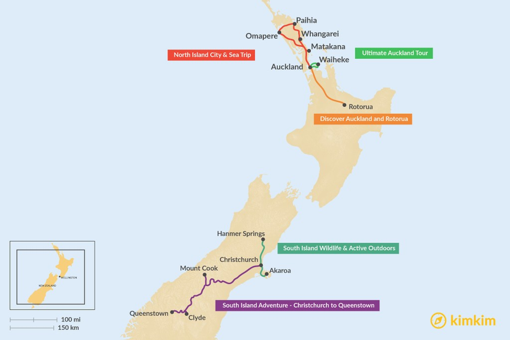 Map of 5 Days in New Zealand - 5 Unique Itinerary Ideas