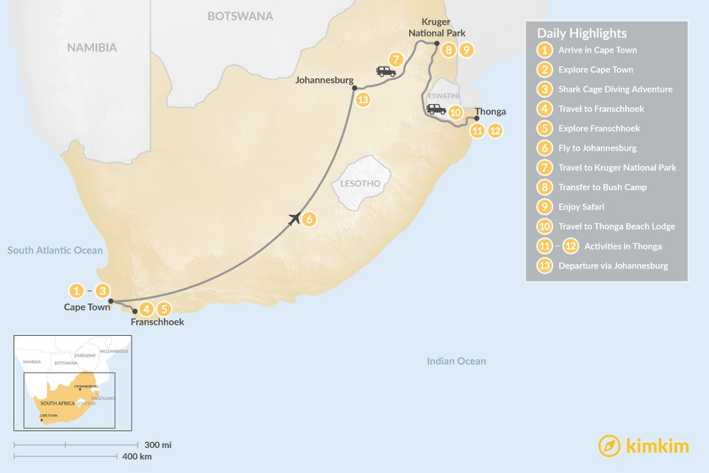 Map of Explore South Africa: Cape Town, Winelands, Johannesburg, Safari, & Beach - 13 Days