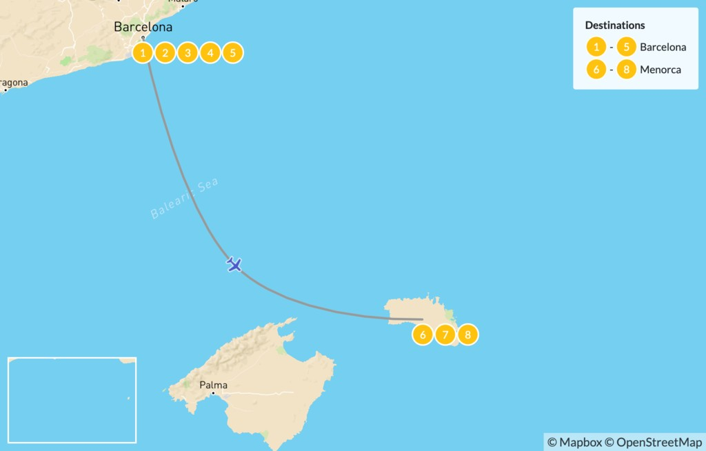 Map of Spain Beach Getaway: Barcelona and Menorca - 9 Days