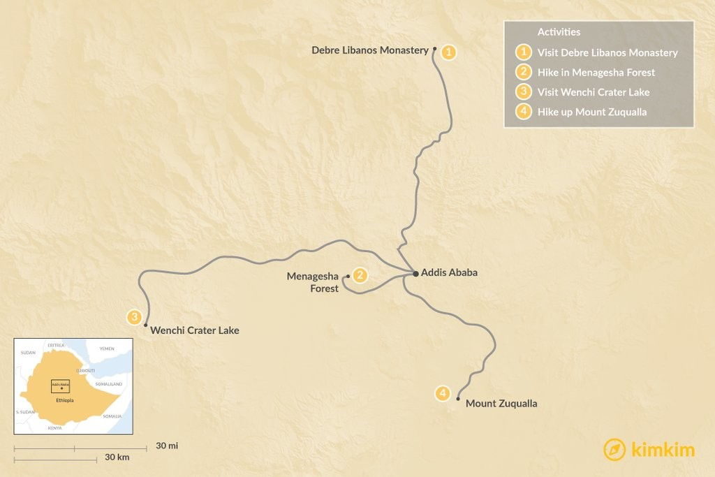 Map of Day Trips from Addis Ababa