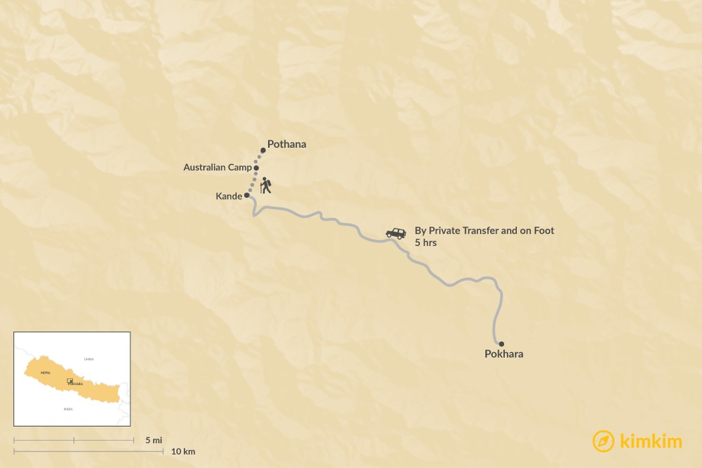 Map of How to Get from Pokhara to Pothana