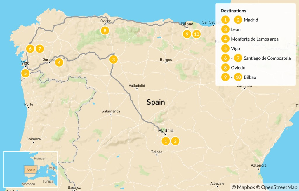 Map of Ultimate Northern Spain Road Trip: Madrid, Galicia, & The Basque Country - 11 days