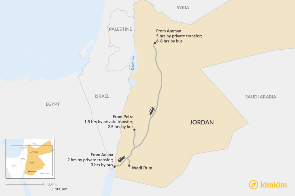 Map of How to Get to Wadi Rum