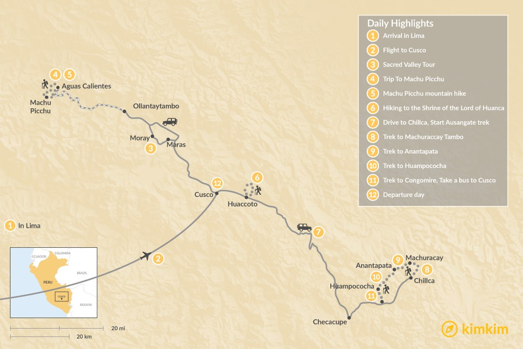 Map of Sacred Valley & Ausangate Mountain - 12 Days