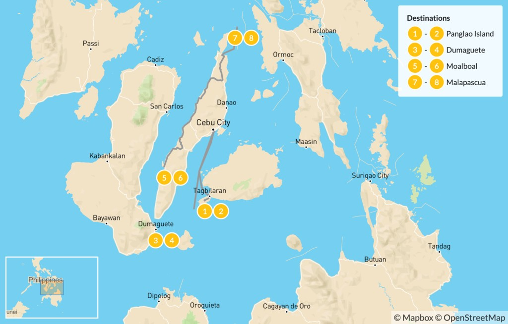 Map of Diving in the Philippines: Cebu, Negros, & Bohol - 9 Days