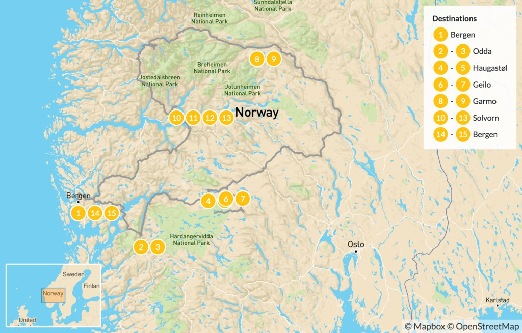 Map of Hiking in Southern Norway - 16 Days