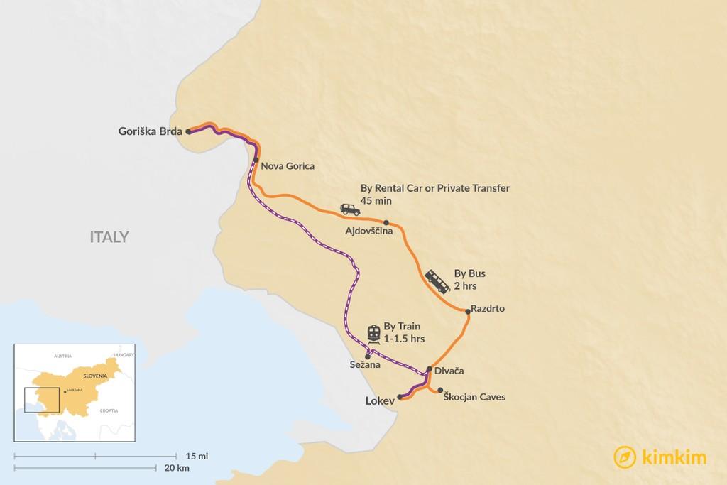 Map of How to Get from Goriška Brda to Lokev