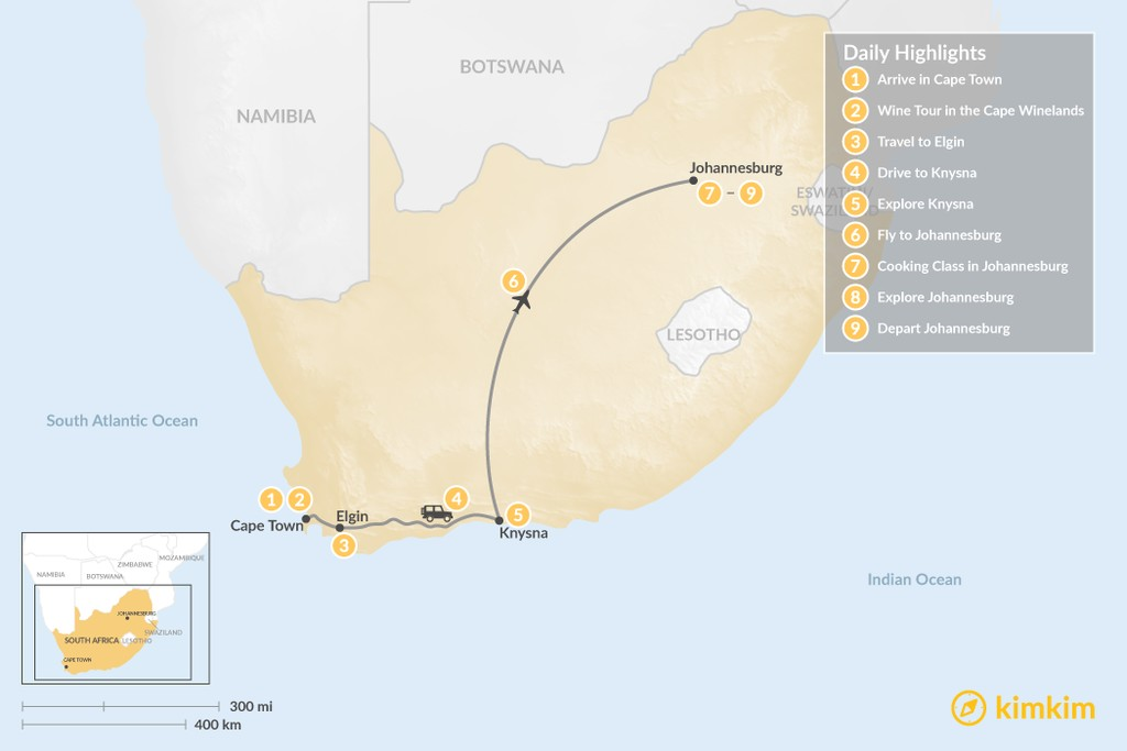 Map of South Africa Food & Wine Tour: Cape Town, Garden Route, & Johannesburg - 9 Days