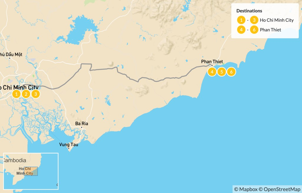 Map of Southern Vietnam Beach Holiday - 7 Days
