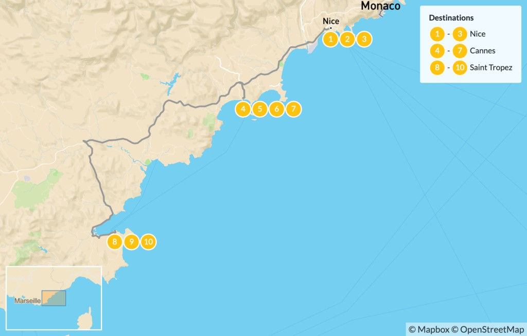 Map of Cities & Nature in the French Riviera: Nice, Cannes, Monaco, St. Tropez, & More - 11 Days