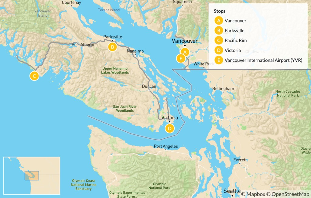 Map of Pacific Rim Adventure: Vancouver to Tofino Road Trip - 6 Days