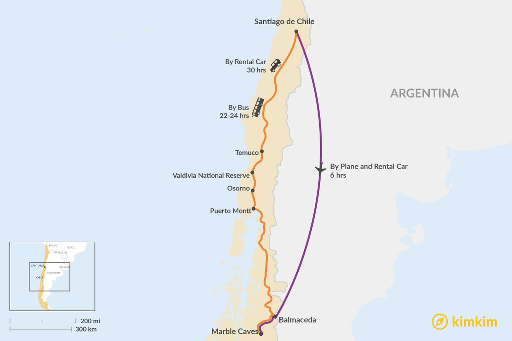 Map of How to Get from Santiago to the Marble Caves (Cuevas de Mármol)