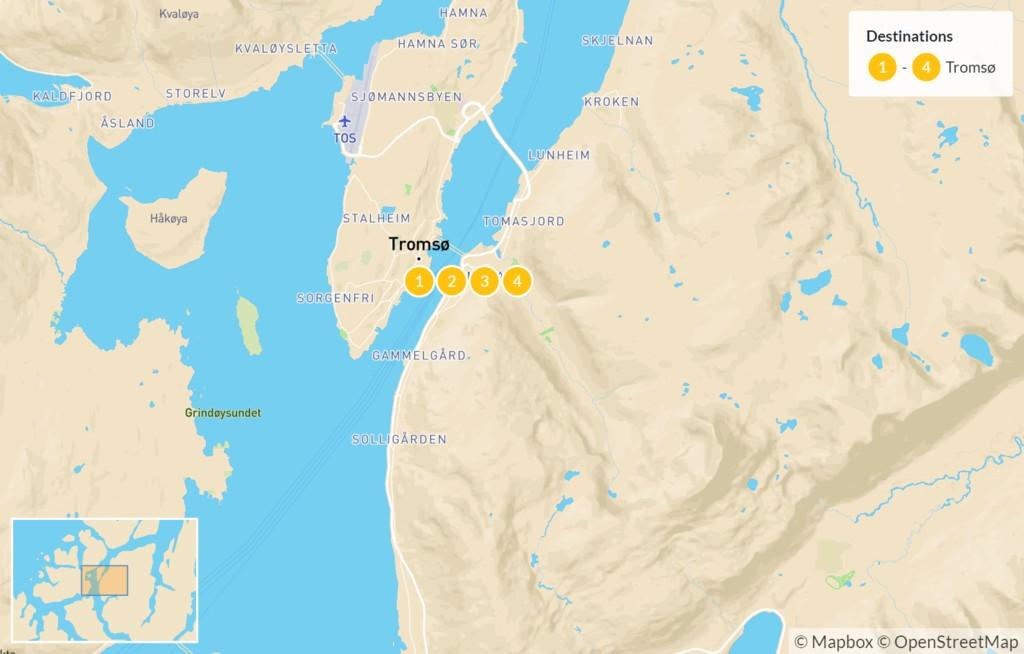 Map of Winter Adventure in Tromsø - 5 Days