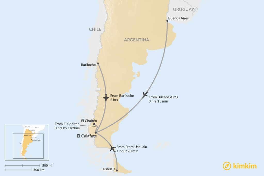 Map of How to Get to El Calafate