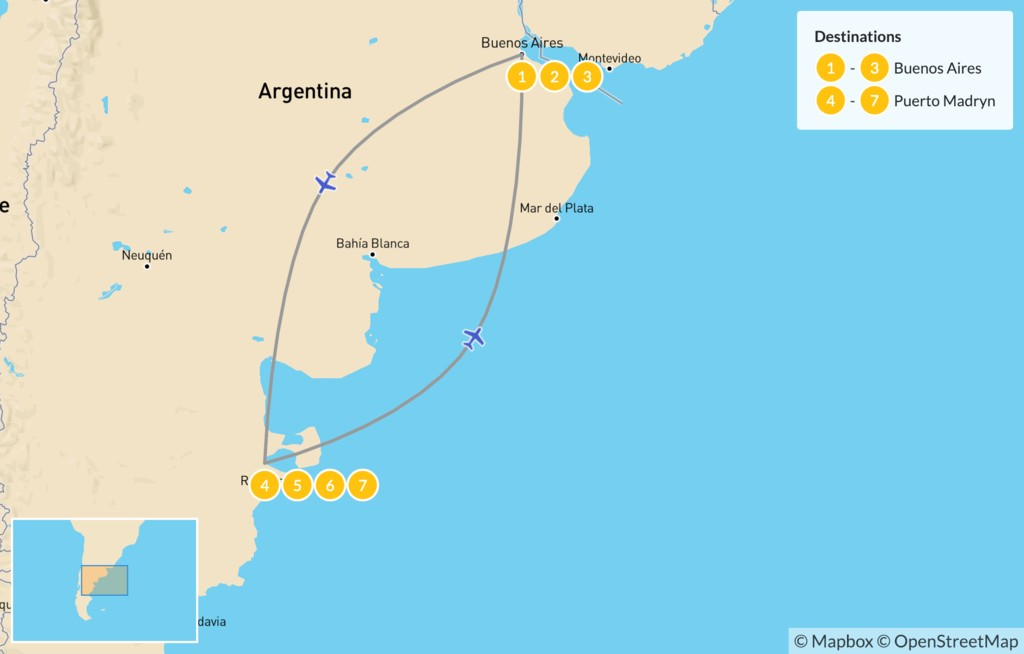 Map of Buenos Aires & Puerto Madryn Adventure - 8 days