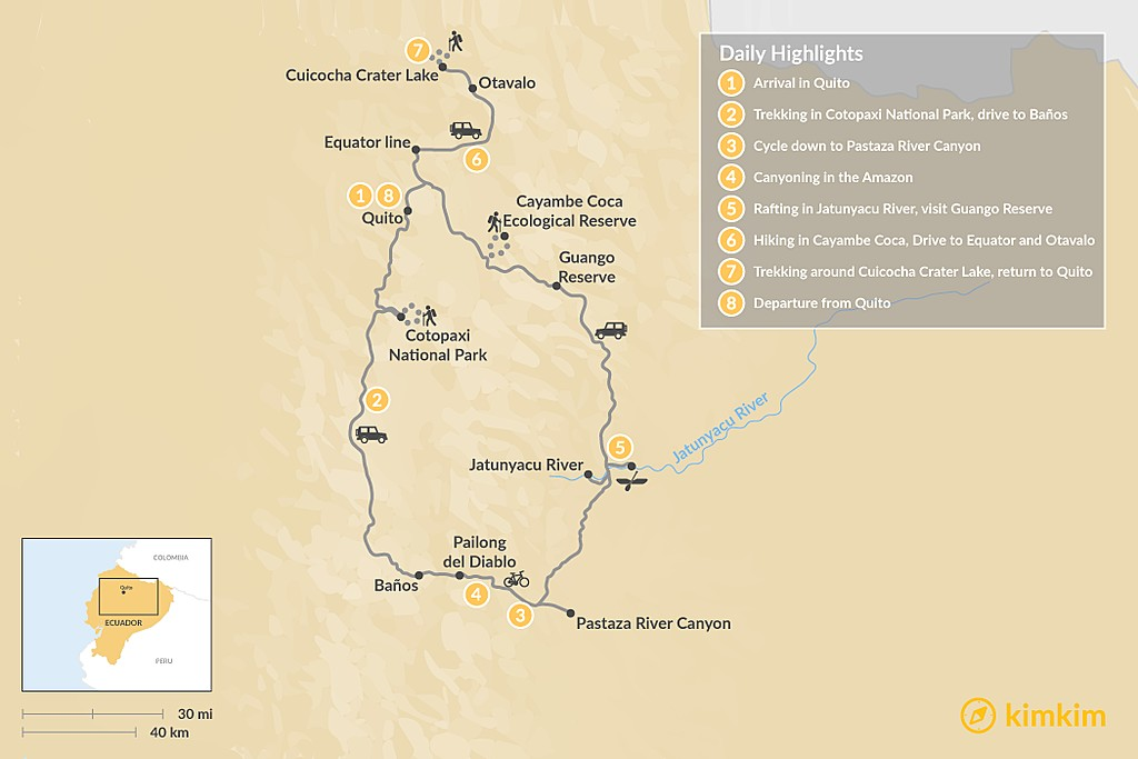 Map of Epic Ecuador Multi-Sport Tour - 8 Days
