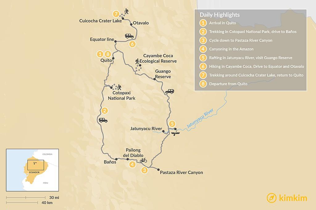Map of Epic Ecuador Multi-Sport Tour - 8 Days