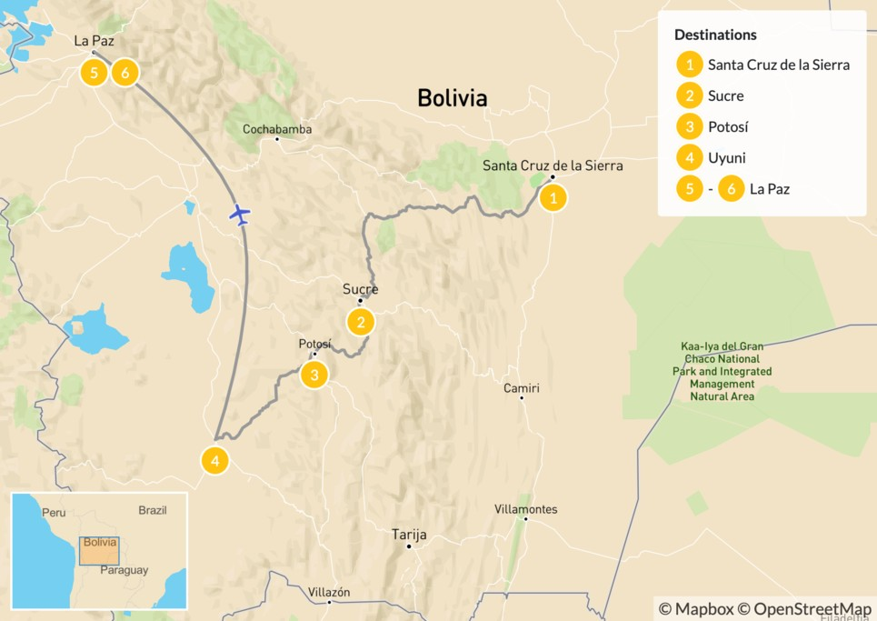 Map of Experience Bolivia - 7 Days