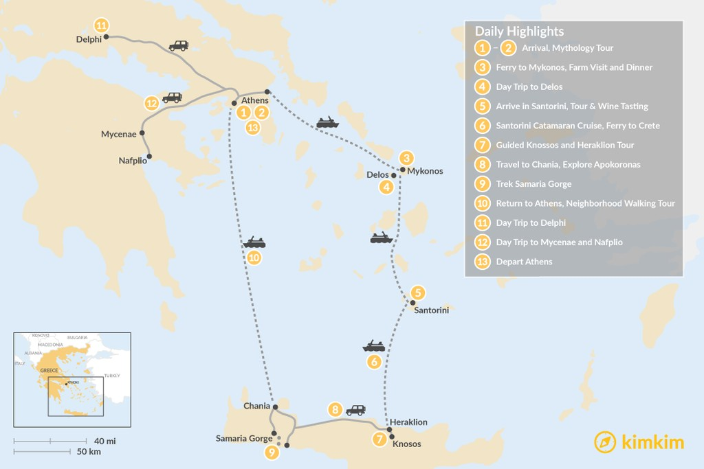 Map of Greek Panorama: Cyclades, Crete, and the Mainland - 13 Days