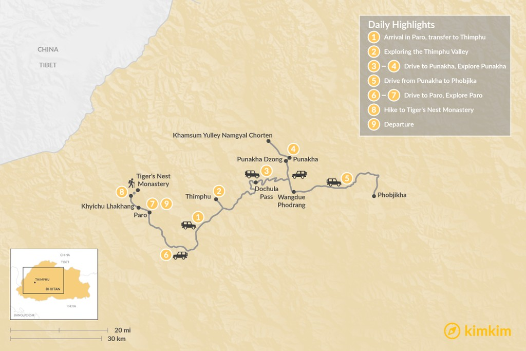 Map of Bhutan Birding Trip - 9 Days