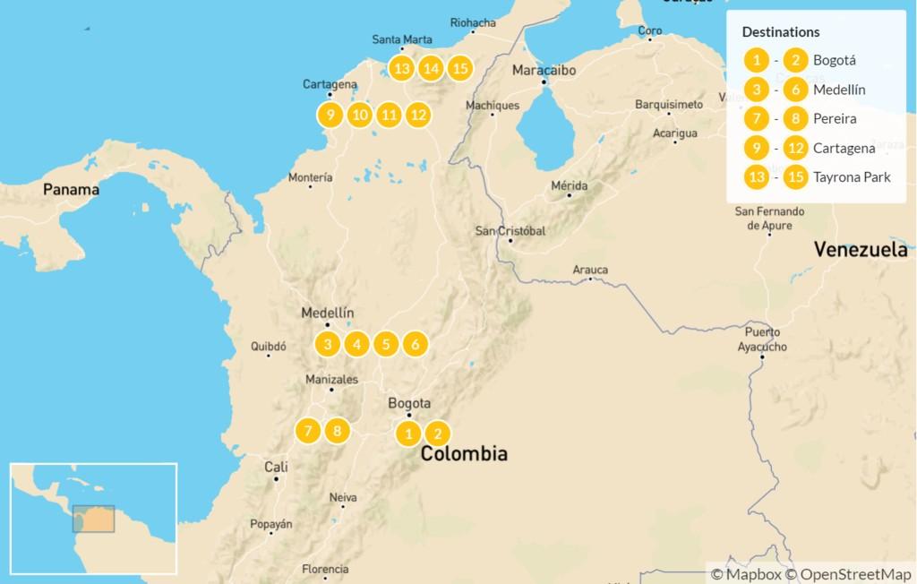 Map of December in Colombia: Bogotá, Medellín, & Cartagena - 16 Days