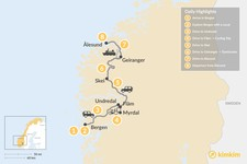 Map thumbnail of Western Norway Fjord Road Trip - 8 Days