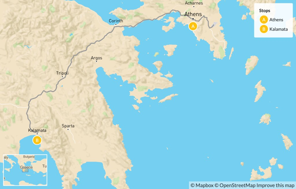 Map of Greek Culture & Adventure for Families: Athens & the Peloponnese - 10 Days