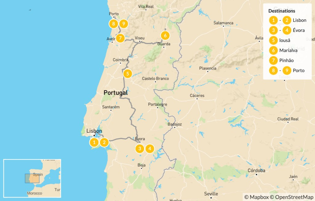 Map of Gastronomy and Wine in Portugal: Lisbon, Porto, Douro Valley - 10 Days