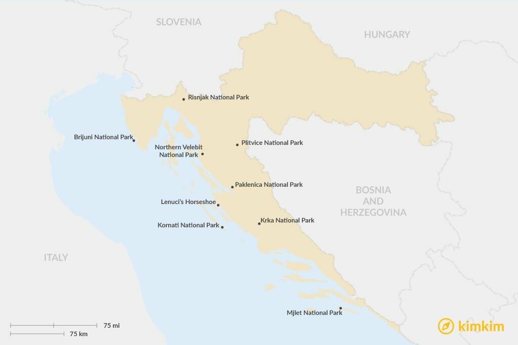 Map of Top 10 Natural Wonders of Croatia