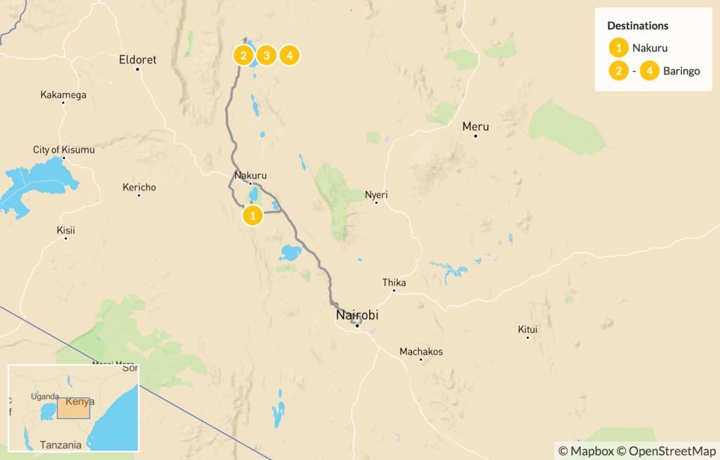 Map of Kenya Birdwatching Safari - 5 Days