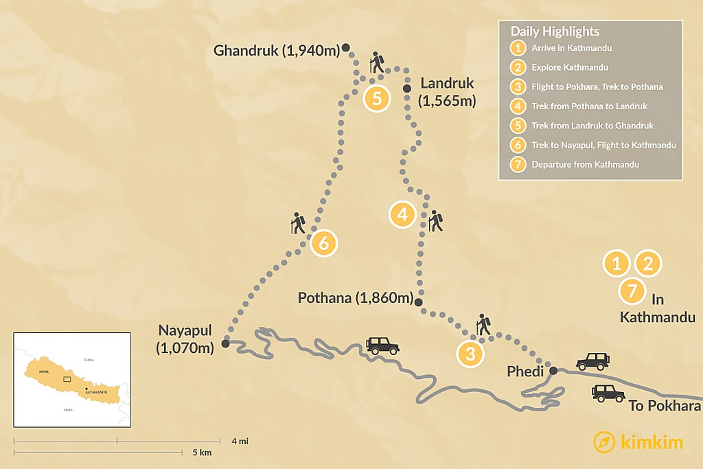 Map of Ghandruk Trek - 7 Days