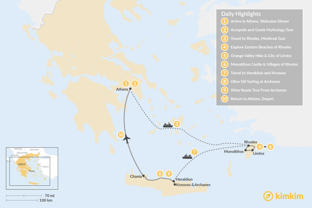 Map of Discover Rhodes and Crete - 10 Days