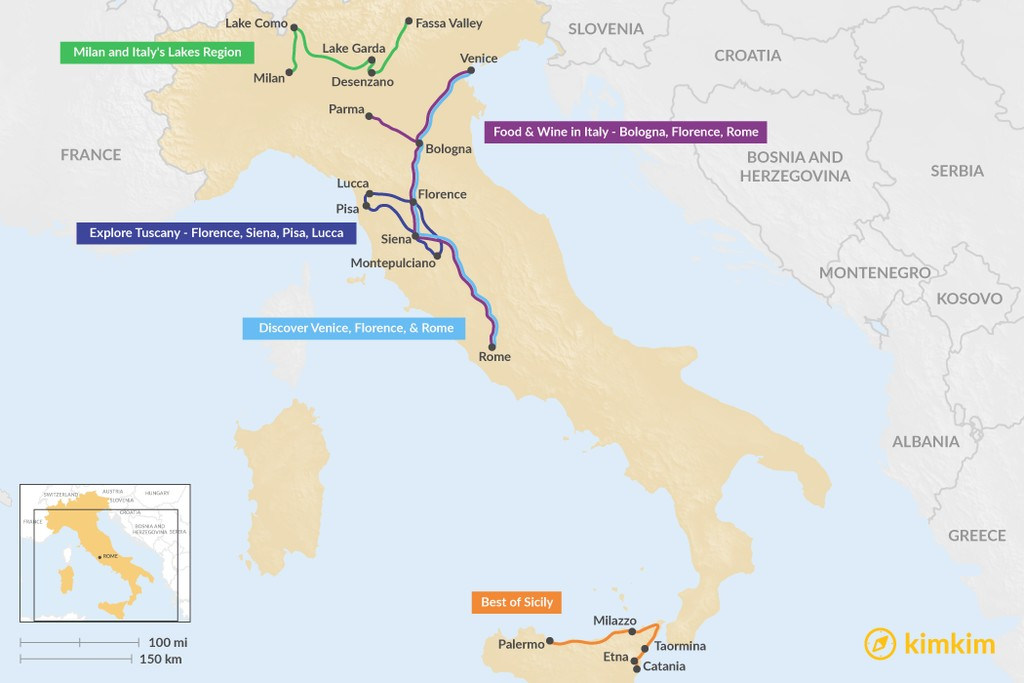 Map of 11 Days in Italy - 5 Unique Itinerary Ideas