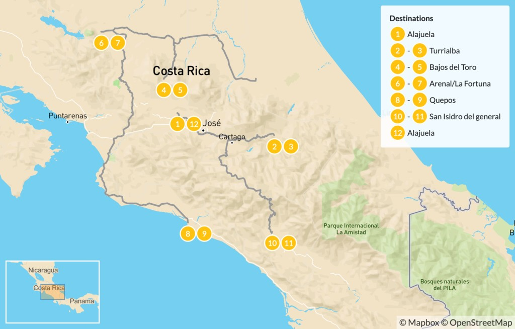 Map of Costa Rica Luxury Spa Treatments, Hot Springs, and Adventure - 13 Days
