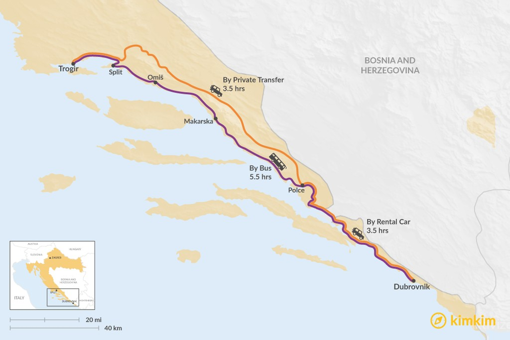 Map of How to Get from Trogir to Dubrovnik