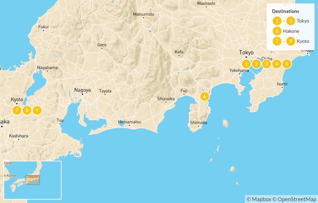 Map of Explore Japan: Tokyo, Nikko, Hakone, & Kyoto - 10 Days