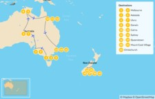 Map thumbnail of Ultimate Australia & New Zealand: Melbourne, Uluru, Queenstown, Mount Cook, & More -23 Days