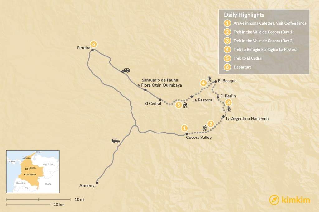 Map of Trekking in Colombia's  Zona Cafetera  - 6 Days