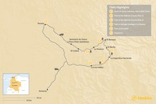 Map thumbnail of Trekking in Colombia's  Zona Cafetera  - 6 Days
