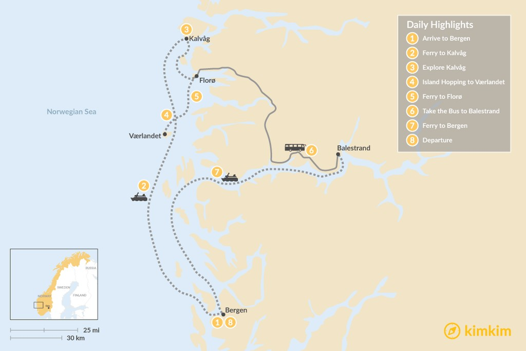 Map of Southern Norway's Fjord Coast - 8 Days