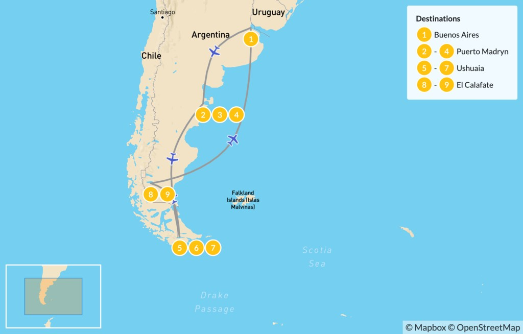 Map of Best of Argentina: Buenos Aires to Southern Pantagonia - 10 Days