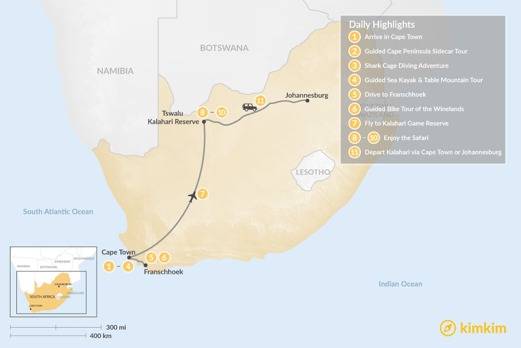 Map of Discover South Africa: Cape Town, Winelands, & Tswalu Kalahari - 11 Days