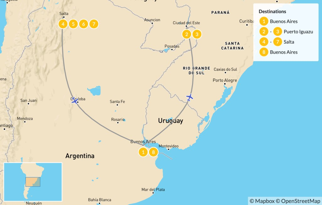 Map of Discover Northern Argentina - 9 Days
