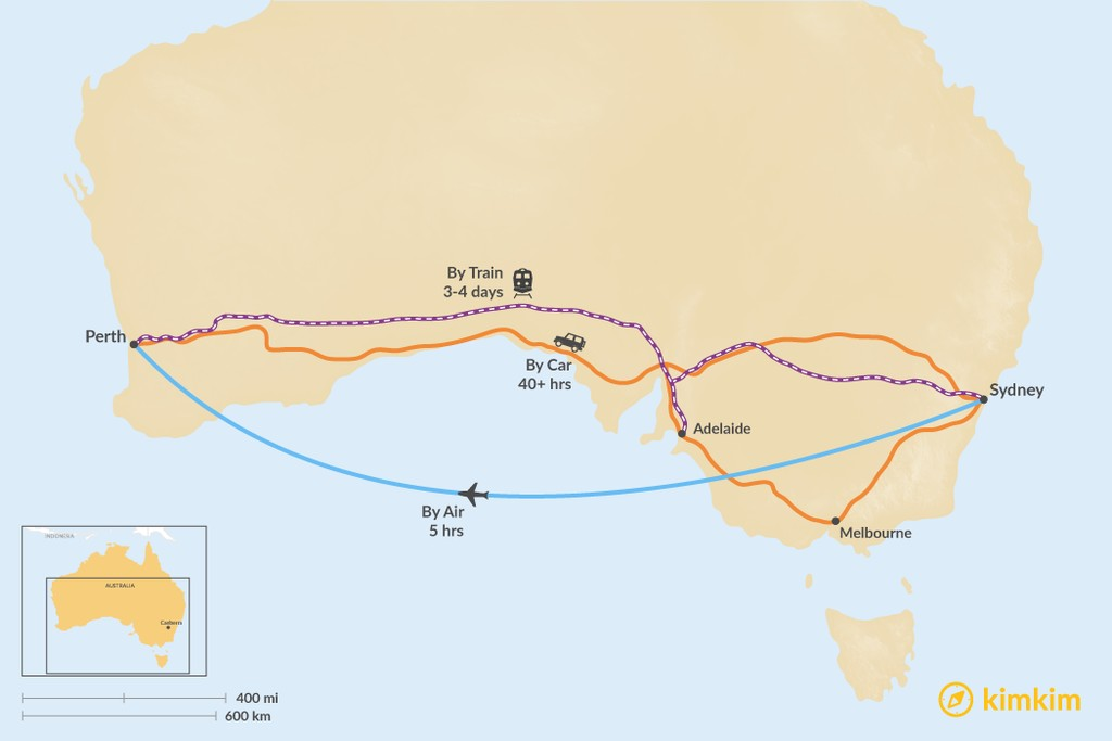 Map of How to Get from Sydney to Perth
