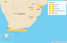 Map thumbnail of Authentic South Africa: Cape Town, Garden Route, Safari, and Johannesburg - 15 Days