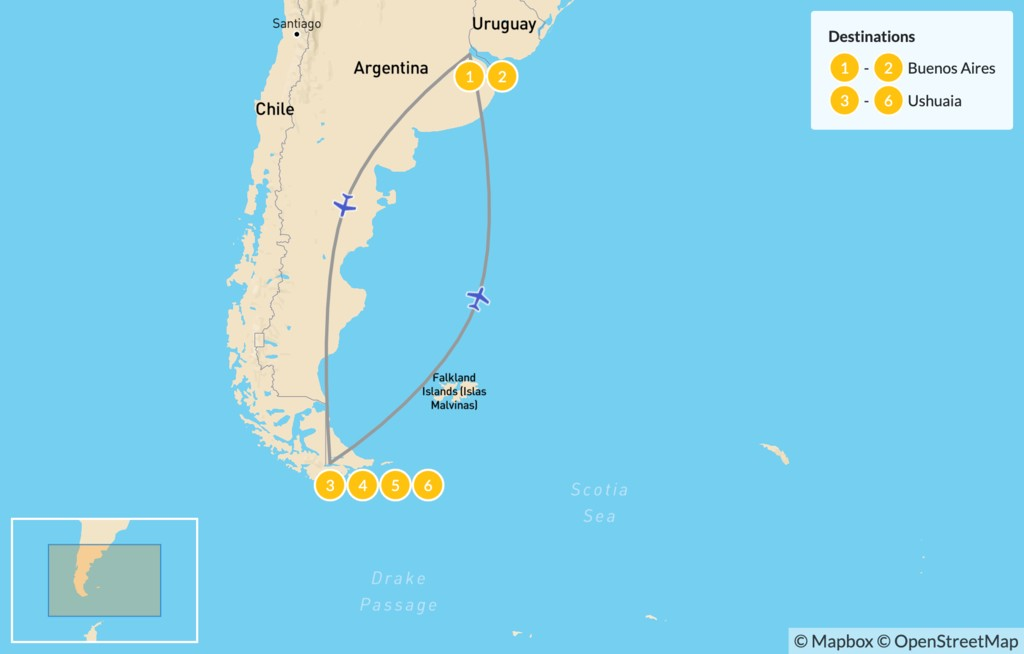 Map of Discover Buenos Aires & Ushuaia - 7 Days