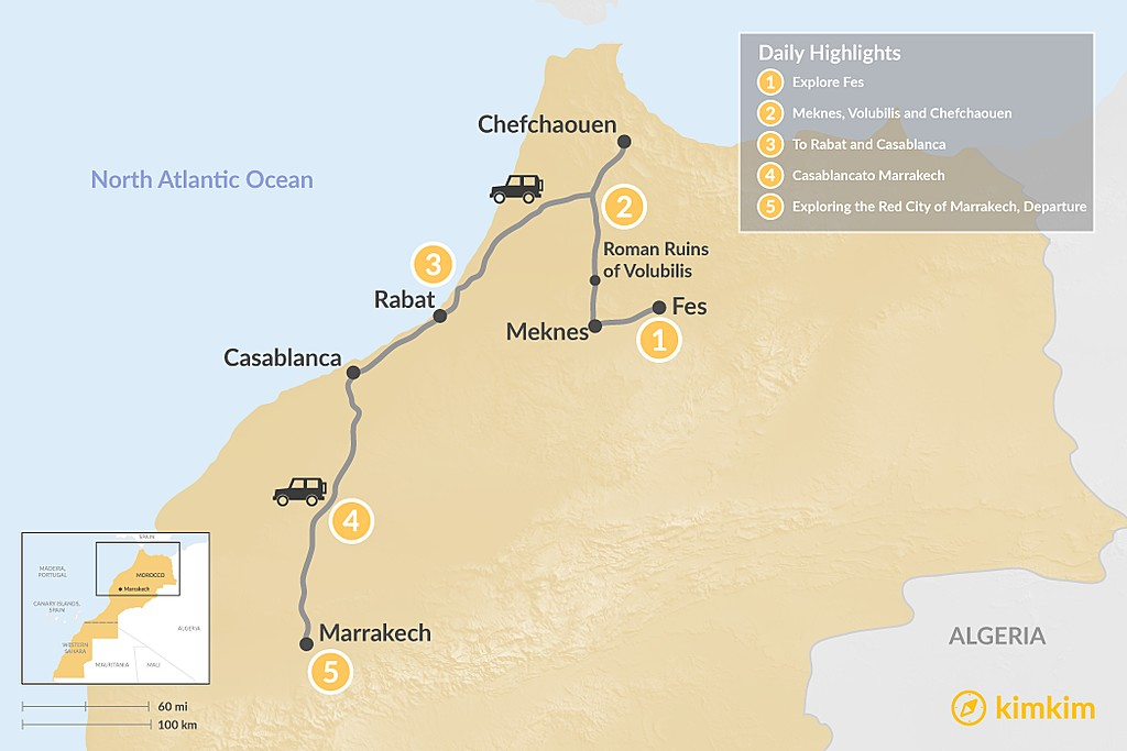 Map of Moroccan Towns & Imperial Cities - 5 Days