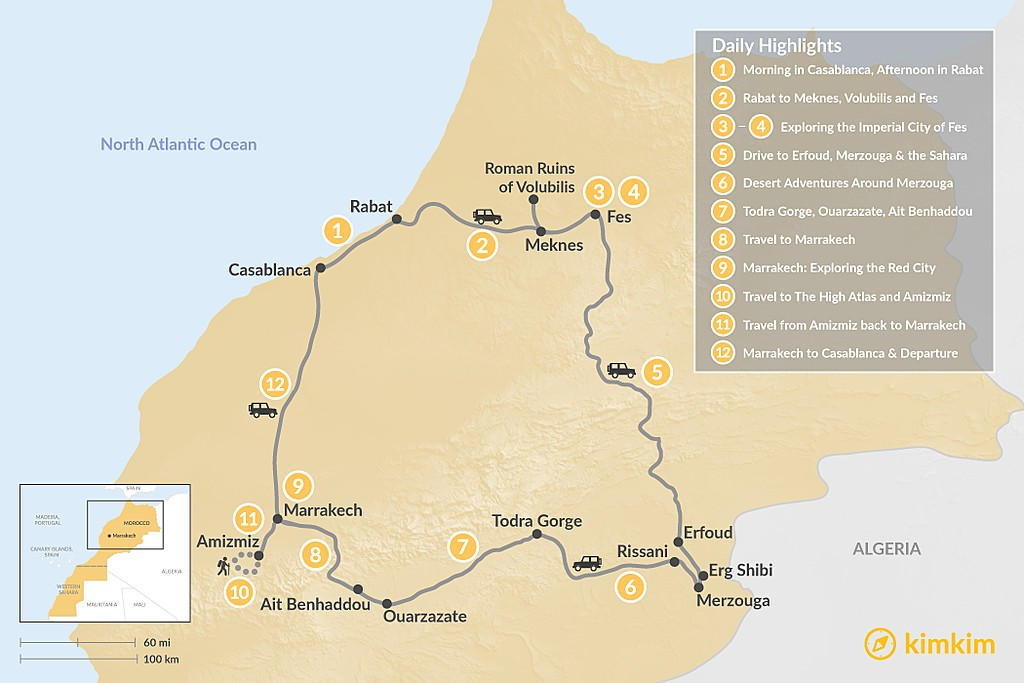 Map of Imperial Cities, Moroccan Deserts & Hiking the Atlas Mountains - 12 Days