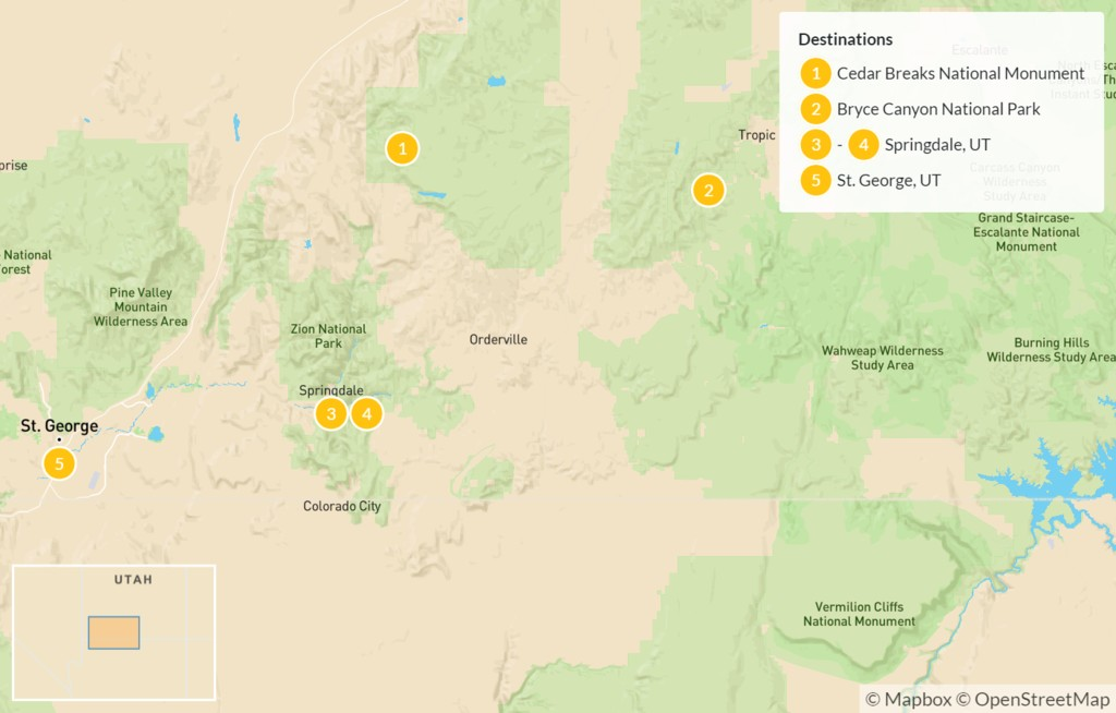 Map of Utah's National Parks: Hike and Bike Tour - 6 Days